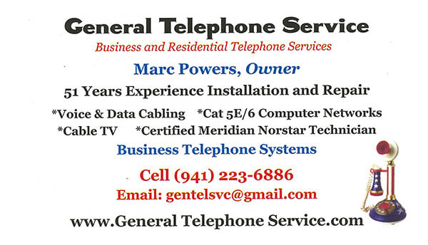 General Telephone Service's Business Card